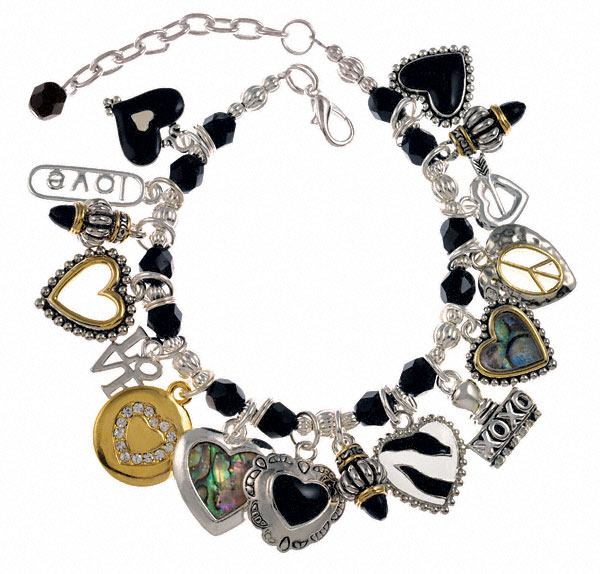 Black & White Heart Charm Bracelet