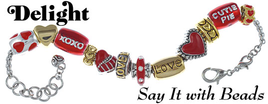 Red Valentine's Large Hole Bead Bracelet