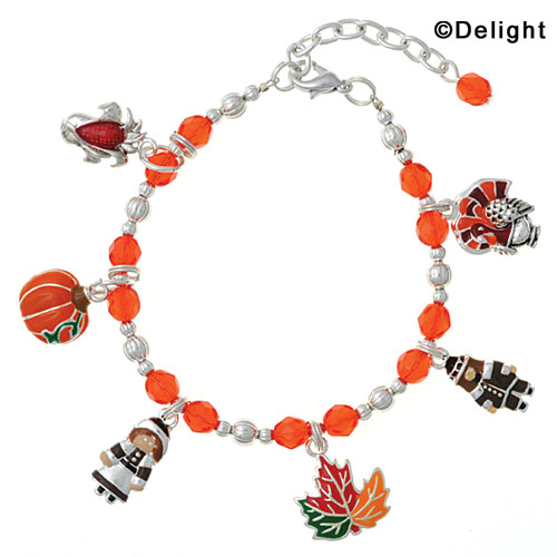 Orange Beaded Thanksgiving Day Charm Bracelet