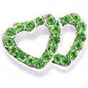 Double Heart Connector - Green Swarovski - Silver Connecter