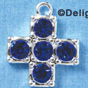Cross - Extra Large Blue Swarovski - Silver plated Pendant