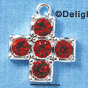 Cross - Extra Large Red Swarovski - Silver plated Pendant