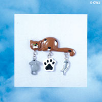 PIN-8092 - Brown Cat Charm Pin with Dangling Mouse, Paw, and Fish Bones Charms