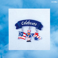 PIN-8152 - Patriotic Celebrate Blue Charm Pin with Dangling USA Flag, Uncle Sam, Firecracker Charms