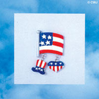 PIN-8153 - USA Flag Charm Pin with dangling Uncle Sam Hat, and Heart Charms