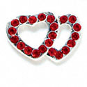 Double Heart Connector - Red Swarovski - Silver Connecter