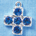 Cross - Large Blue Swarovski - Silver plated Pendant