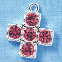 Cross - Large Pink Swarovski - Silver plated Pendant