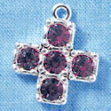Cross - Large Purple Amethyst Swarovski - Silver plated Pendant