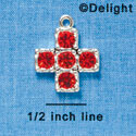 Cross - Large Red Swarovski - Silver plated Pendant