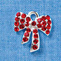 Red Swarovski Crystal Bow - Silver Charm
