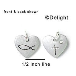 N1006 - Christian Cross & Fish in Heart - Silver Resin Charm