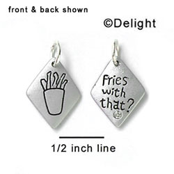 N1009 - Fries with That? & Fries - Silver Resin Charm