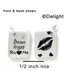 N1039 - Damn Right You Love Me & Lips - Silver Resin Charm
