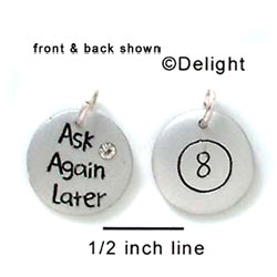 N1051 - Ask Again Later, Eight Ball - Silver Resin Charm