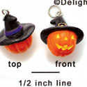 N1111+ tlf - Jack-o-Lantern with Witch Hat - 3-D Hand Painted Resin Charm