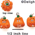 N1113+ tlf - 3 Assorted Funny Pumpkins - 3-D Hand Painted Resin Charm