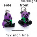 N1115+ tlf - Purple Panda Bear - 3-D Hand Painted Resin Charm