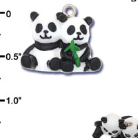 N1182+ tlf - Best Friends Panda Bears - 3-D Hand Painted Resin Charm