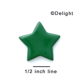 "0009G - 1.25"" Medium Green Flat Star - Resin Decoration"