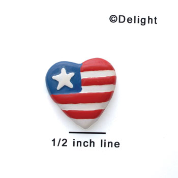 0024A - Small USA Heart with 1 Star - Resin Decoration