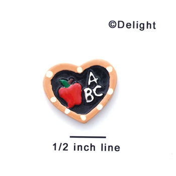0091C - Medium Tan Heart ABC Slate with Apple - Resin Decoration