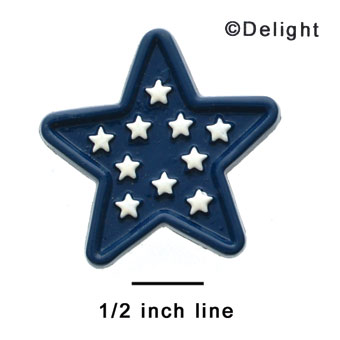 0727 - Large Blue Star with White Stars - Resin Decoration