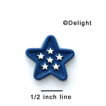 0729 - Small Blue Star with White Stars - Resin Decoration