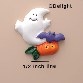 0840 - Medium Ghost with Bat and Pumpkin  - Resin Decoration