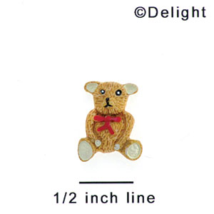 2653 tlf - Bear Sitting Tie Red Mini - Resin Decoration