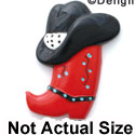 0423* - Medium Red Cowboy Boot with Black Hat (Left & Right) - Resin Decoration