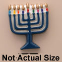 1738 ctlf - Medium Menorah with Colored Candles - Resin Decoration