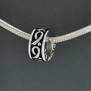 SS1016 tlf - Antiqued Silver Ribbons Spacer - Sterling Silver Large Hole Bead