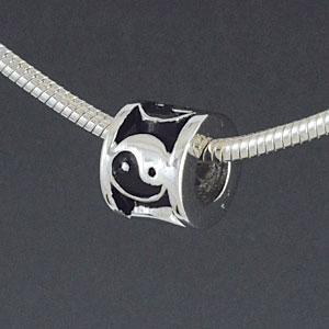 SS1023 tlf - Yin Yang Spacer - Sterling Silver Large Hole Bead
