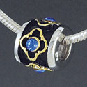 SS1036 tlf - Gold Alhambra Diamond with Blue Sapphire Swarovski Crystals - Sterling Silver Large Hole Bead