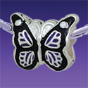 BT1099 tlf - Purple Monarch Butterfly with AB Swarovski Crystals - Triple Silver Plated Large Hole Bead