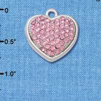 CT1002 tlf - Large Rounded Pink Light Rose Oktant Crystal Heart - Triple Silver Plated Charm