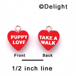 "A1135+ tlf - Red ""Puppy Love / Take a Walk"" Heart - Acrylic Charm"