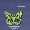 A1006 tlf - Large Cut Out Butterfly with Crystals - Mirror Lime Green - Acrylic Pendant