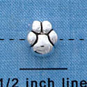 B1132 tlf - Mini Silver Paw - 2 Sided - Silver Plated Bead