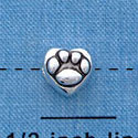 B1133 tlf - Mini Silver Paw in Heart - 2 Sided - Silver Plated Bead