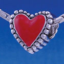 B1214 tlf - Red Heart with Beaded Border - 2-D - Im. Rhodium Large Hole Bead