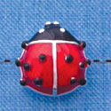 B1292 tlf - Translucent Red Ladybug - Silver Beads