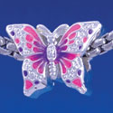 B1320 tlf - Hot Pink & Purple Butterfly - Silver Plated Large Hole Bead
