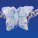 B1321 tlf - Lime Gree & Blue Butterfly - Silver Plated Large Hole Bead