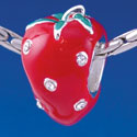 B1354 tlf - Red Enamel Strawberry with Swarovski Crystal - Im. Rhodium Plated Large Hole Bead