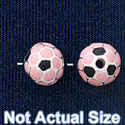 B1435 tlf - 8mm Pink Soccer ball - Silver Plated Bead