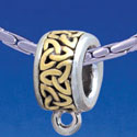B1726 tlf - Celtic Knot Trinity Band - Charm Hanger - Im. Rhodium & Gold Plated Large Hole Bead
