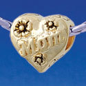 B1769 tlf - Gold Mom Heart with Flowers - Gold Plated Large Hole Bead