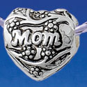B1781 tlf - Large Silver Mom Heart with Flowering Branches - Silver Plated Large Hole Bead